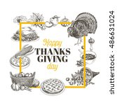 vector hand drawn thanksgiving... | Shutterstock .eps vector #486631024
