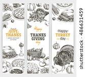 vector hand drawn thanksgiving... | Shutterstock .eps vector #486631459