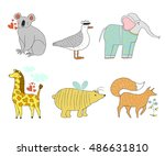 cute cartoon animals collection.... | Shutterstock .eps vector #486631810
