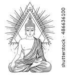 sitting buddha over sacred...   Shutterstock .eps vector #486636100