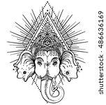 Hindu Lord Ganesha Over Sacred...