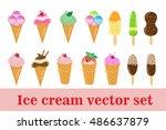 ice cream set. ice cream cone ... | Shutterstock .eps vector #486637879
