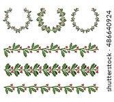 ilex aquifolium decor  also... | Shutterstock .eps vector #486640924