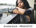 african american depressive sad ... | Shutterstock . vector #486642910
