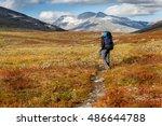 hiker withe backpack in... | Shutterstock . vector #486644788