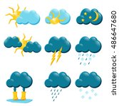 weather icons  weather forecast ... | Shutterstock .eps vector #486647680