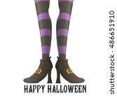 happy halloween card design... | Shutterstock .eps vector #486651910