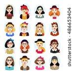 set of avatar illustrations... | Shutterstock .eps vector #486653404