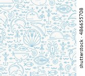 vector seamless pattern with... | Shutterstock .eps vector #486655708