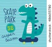 cool skater dinosaur character... | Shutterstock .eps vector #486655780