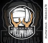 two hand hold volleyball ball....   Shutterstock .eps vector #486661678