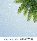christmas background with fir... | Shutterstock .eps vector #486667354