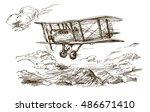 Hand drawn airplane. Vintage biplane.