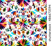 vector seamless mexican otomi... | Shutterstock .eps vector #486673594