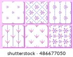 Set Of Seamless Floral Vector...
