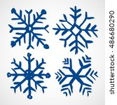 grunge snowflakes. four color... | Shutterstock .eps vector #486680290