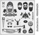 lumberjack collection.... | Shutterstock .eps vector #486684604