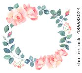 Stock photo romantic roses watercolor seamless pattern 486688024