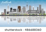 auckland skyline with gray... | Shutterstock .eps vector #486688360