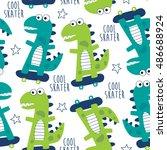 seamless cool skater dinosaur... | Shutterstock .eps vector #486688924