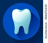 flat tooth icon vector with...