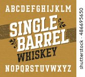 single barrel whiskey label... | Shutterstock .eps vector #486695650