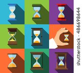 hourglass vector flat icons....