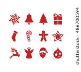 red christmas icons set | Shutterstock .eps vector #486700594