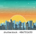 silhouette of the city at... | Shutterstock .eps vector #486701650