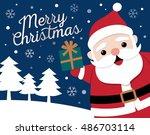 cute santa clause cartoon... | Shutterstock .eps vector #486703114