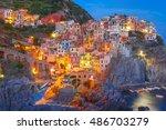 aerial night view of manarola... | Shutterstock . vector #486703279
