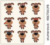 vector set isolated emotion... | Shutterstock .eps vector #486706198