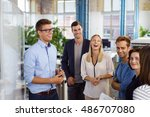 laughing white collar workers... | Shutterstock . vector #486707080