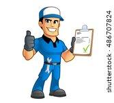 sympathetic car mechanic  he... | Shutterstock .eps vector #486707824