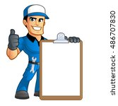 sympathetic car mechanic  he... | Shutterstock .eps vector #486707830