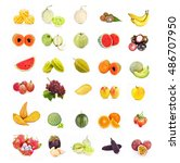 mixed fruit  on white background | Shutterstock . vector #486707950