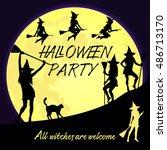 vector halloween background for ... | Shutterstock .eps vector #486713170