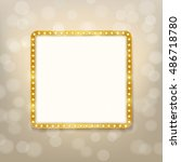 cinema golden square frame with ... | Shutterstock .eps vector #486718780