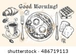 traditional breakfast set.... | Shutterstock .eps vector #486719113