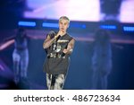 justin bieber performs in... | Shutterstock . vector #486723634
