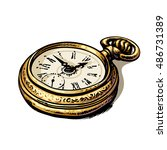 ancient gold pocket watch. hand ... | Shutterstock .eps vector #486731389