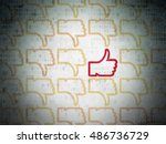 social media concept  rows of... | Shutterstock . vector #486736729