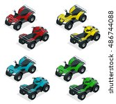 quad bike atv isometric vector...