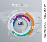 white infographics set with... | Shutterstock .eps vector #486745519