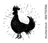 Rooster Label. Vintage Style...