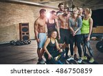 group of eight happy muscular... | Shutterstock . vector #486750859