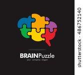 Stock vector puzzle brain idea creative logo icon element template 486752140