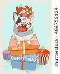 little cute christmas bulldog | Shutterstock .eps vector #486753124