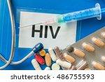 hiv disease concept. many pills ... | Shutterstock . vector #486755593
