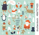 christmas cards with cute santa ... | Shutterstock .eps vector #486757420